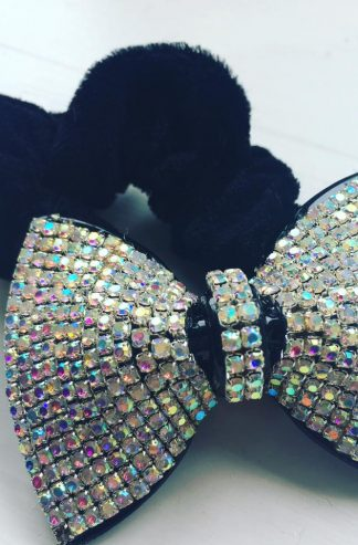 Sparkly AB Crystal Bow Hair Scrunchie