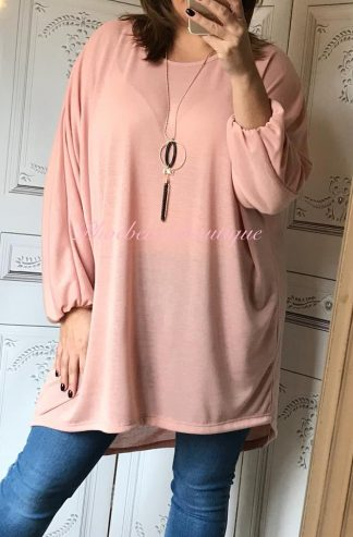 Loose Fit Soft Jersey Necklace Top - Soft Pink