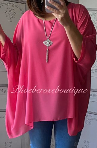Loose Fit Chiffon Bat-wing Sleeve Top - Fuschia