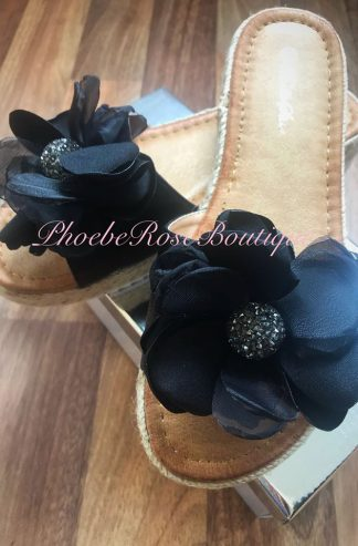 Lux 3d Flower and Sparkly Gem Sliders - Black