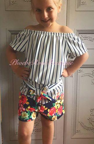 Girls 2 Piece Stripe/Floral Short Set - Navy/White