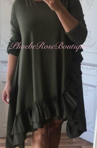Asymmetric Frill Trim L/Sleeve Tunic/Dress - Khaki