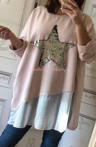 Oversized Sequin Star Silk Panel Sweatshirt - Soft Pink