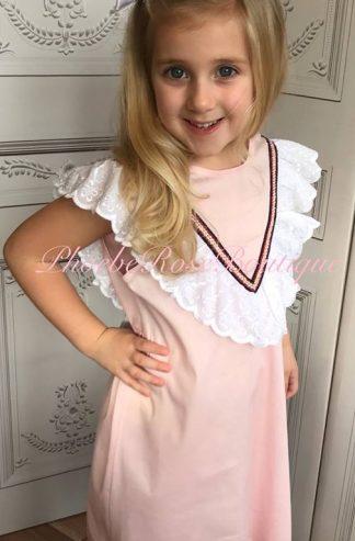 Girls Bow Back Frill Top Dress - Soft Pink