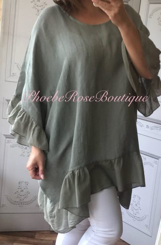 Linen Frill Loose Fit Top - Khaki