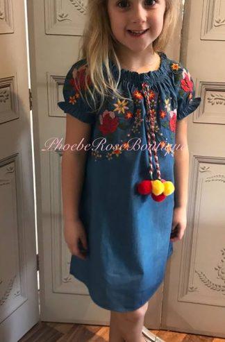 Girls Denim Floral and Pom Pom Dress