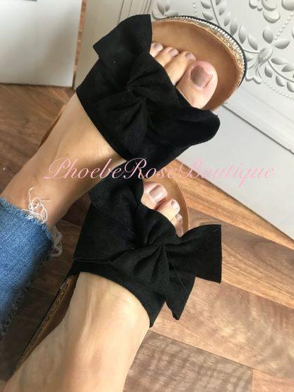 Bow Front Diamante Edge Sliders - Black