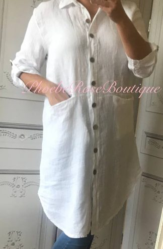 Linen Pocket Shirt/Dress - White