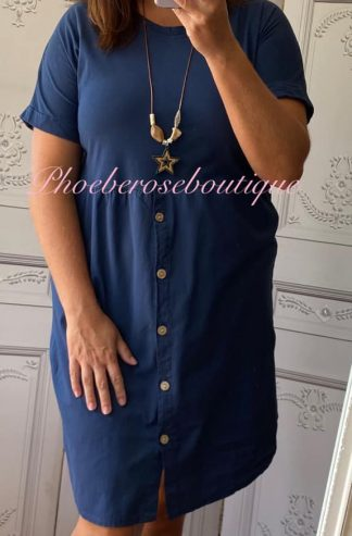 Button Front T-Dress - Navy