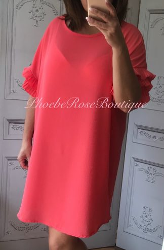 Crepe Feel Frill Arm Loose Fit Dress - Coral