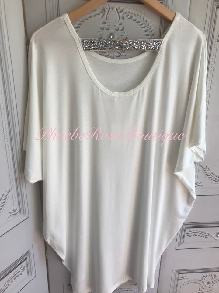 a0823499ddd Diamante Strap Cut Out Back Tunic/Top - Off White » Phoebe Rose Boutique