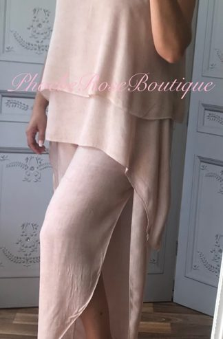 3 Piece Drape Trouser Suit - Soft Pink