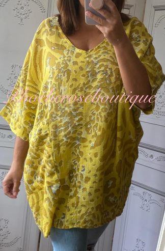 Animal Print Pocket Linen Mix Tunic - Yellow