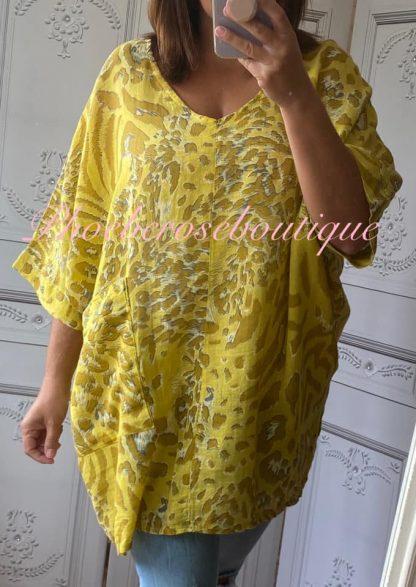 Animal Print Pocket Linen Mix Tunic - Yellow