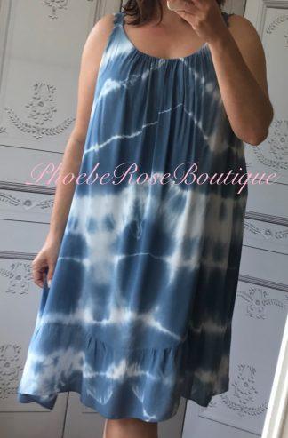 Tie Dye Frill Hem Sundress - Sky Blue