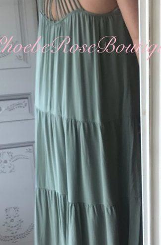 Cross Back Statement Maxi Tiered Dress - Khaki