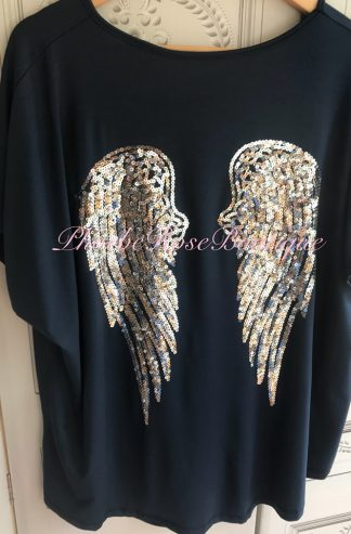 Sequin Angel Wing Loose Fit T-Top - Navy