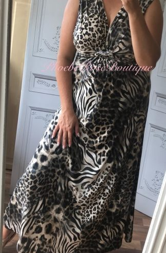 Print Maxi Knot Front Dress - Lepo Print