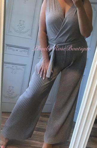Glitter Lurex Wrap Front Soft Pleat Trouser Jumpsuit - Nude