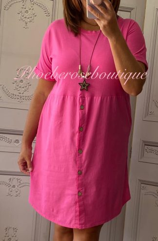 Button Front T-Dress - Fuschia