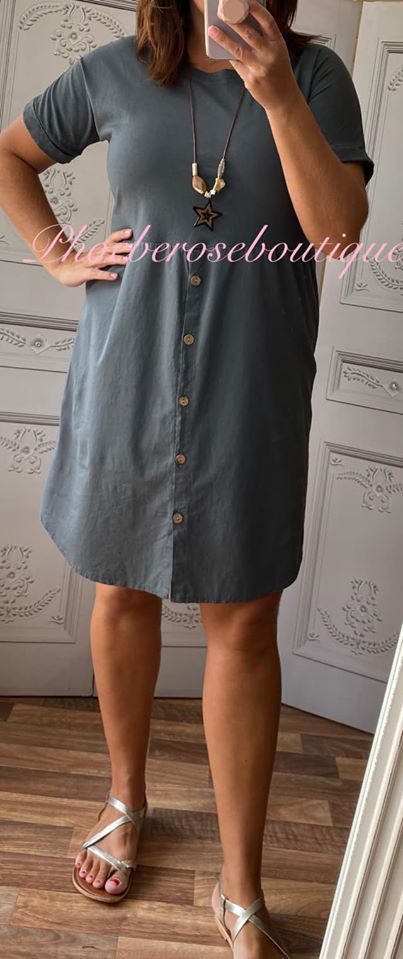 Button Front T-Dress - Charcoal