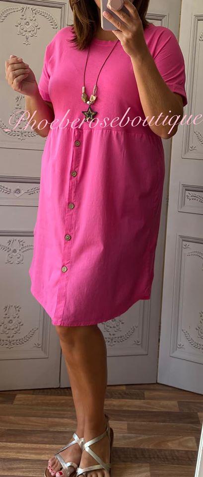 Button Front T-Dress - Fuschia