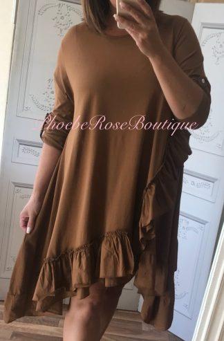 Asymmetric Frill Trim L/Sleeve Tunic/Dress - Tan