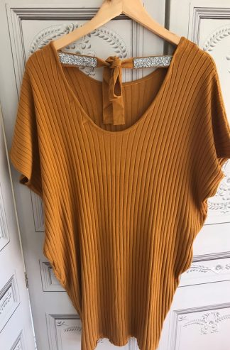 Embellished Tie Up Cut Out Back Soft Ribbed S/S Tunic/Jumper - Mustard