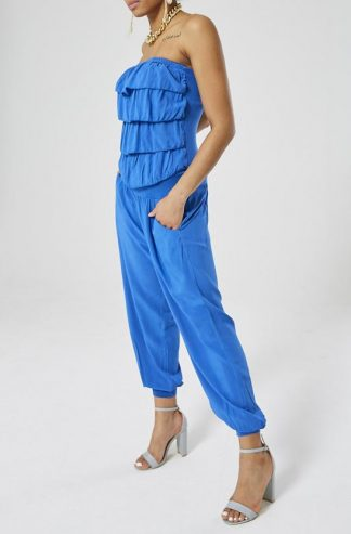 Bardot Frill Front Jumpsuit -Royal Blue