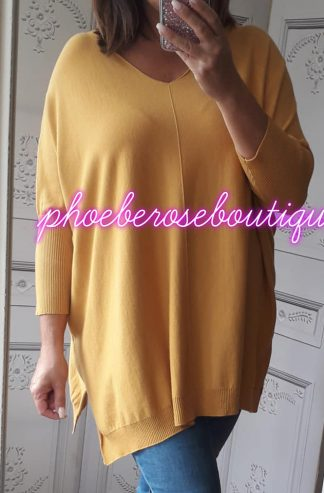 Lux Supersoft Seam Front Loose Fit Jumper - Mustard