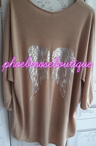 Loose Fit Soft Jersey Angel Wing Top - Camel