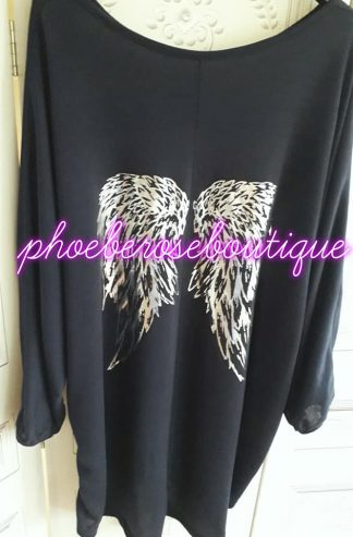 Loose Fit Soft Jersey Angel Wing Top - Navy