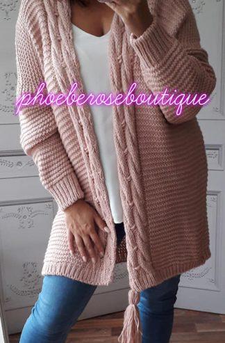 Chunky Soft Knit Oversized Tassle Trim Cardigan - Soft Pink