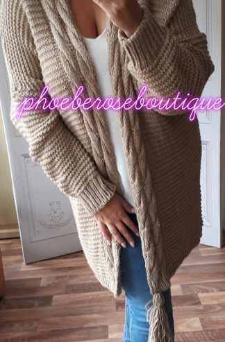Chunky Soft Knit Oversized Tassle Trim Cardigan - Mocha