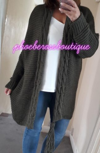 Chunky Soft Knit Oversized Tassle Trim Cardigan - Khaki