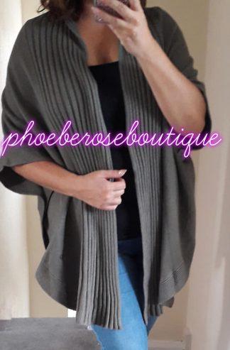 Lux Cape Style Cardigan - Khaki