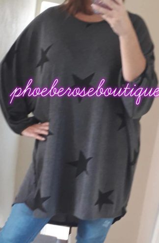 Star Loose Fit Top/tunic - Charcoal Grey