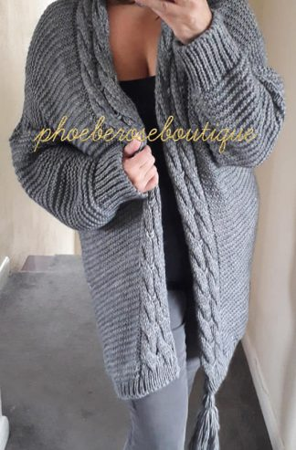 Chunky Soft Knit Oversized Tassle Trim Cardigan - Charcoal Grey