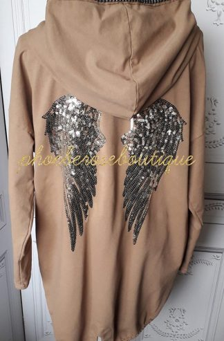 Sequin Angel Wings Back Lux Hooded Jacket - Camel