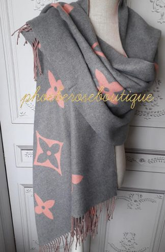 Lux Cashmere Mix Designer Inspired Extra Large Scarf - Soft Grey/Pink