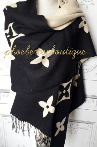 Lux Cashmere Mix Designer Inspired Extra Large Scarf - Black/Stone