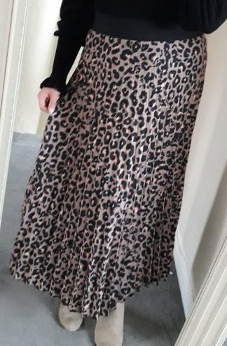 Lepo Soft Pleat Long Skirt - Caramel Mix