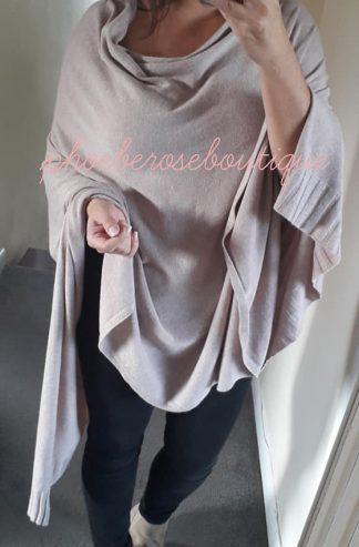 Super Size Soft Knit Poncho - Soft Mocha