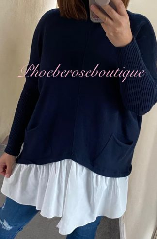 Mock Shirt Soft Knit Jumper - Navy