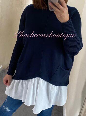 Mock Shirt Soft Knit Jumper - Navy