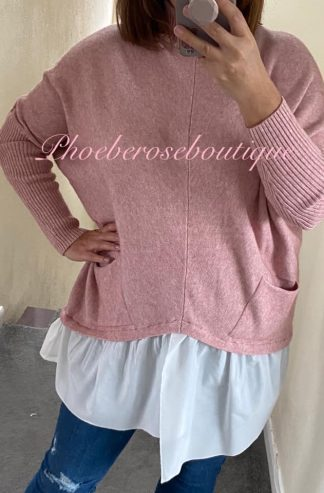 Mock Shirt Soft Knit Jumper - Soft Pink