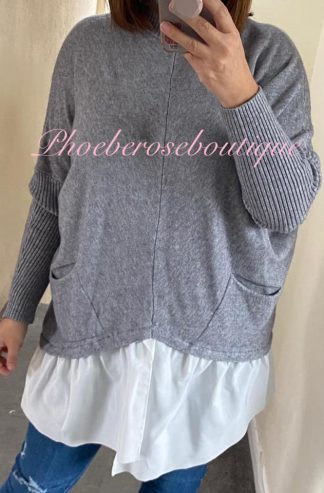 Mock Shirt Soft Knit Jumper - Soft Grey