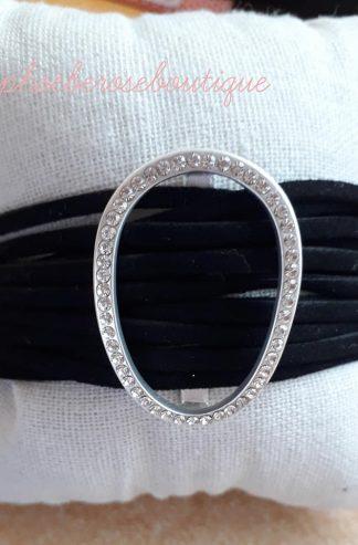Lux Diamante Suede Strappy Bracelet - Black