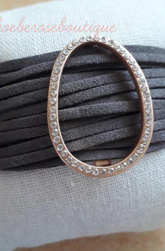 Lux Diamante Suede Strappy Bracelet - Dark Grey