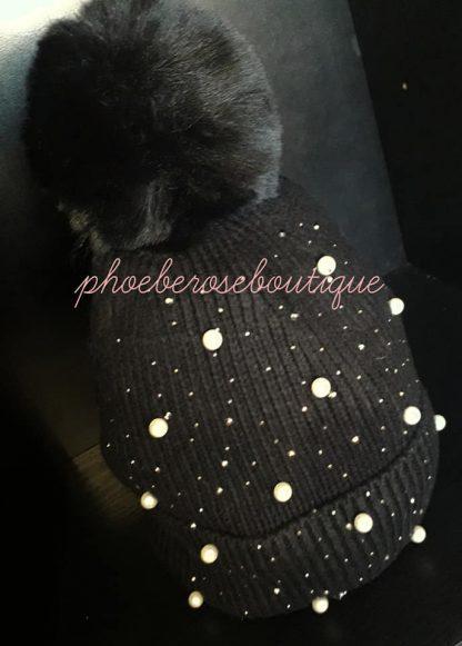 Bead and Sparkly Stud Faux Fur Pom Pom Hat - Black